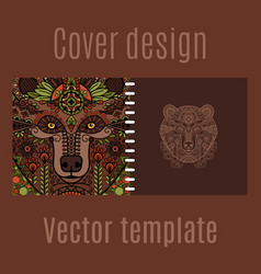Cover design for print with bear vector