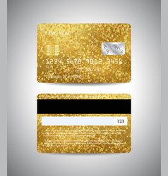 Credit cards set with gold abstract background vector