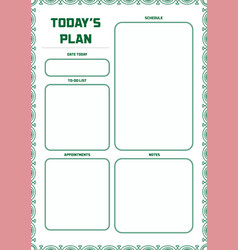 daily planner template ready for print with space vector image
