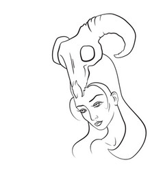 Demon woman with goat skull on her head vector