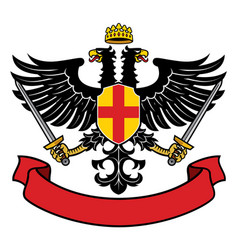 eagle two headed heraldry with pair swords and vector image
