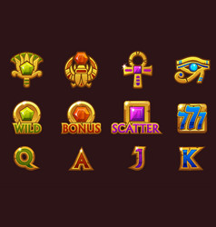 Egyptian icons for casino machines slots game with vector