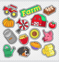 Farm agriculture doodle with tractor natural food vector