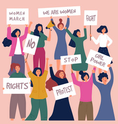 feministic meeting woman protest female young vector image