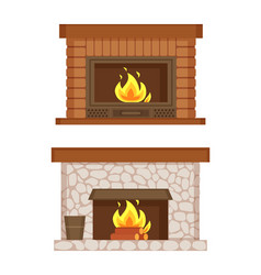 fireplace made of bricks and stones interior set vector image