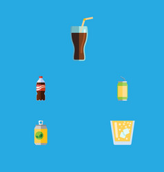 Flat icon soda set of drink lemonade fizzy drink vector