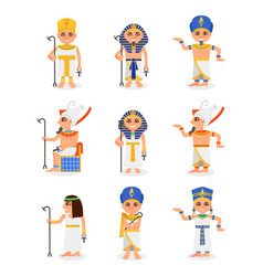 Flat set of cartoon egyptian pharaohs and vector