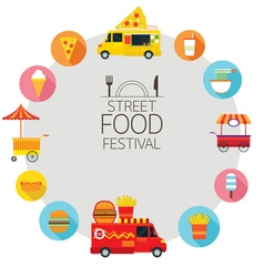 food truck street icons frame vector image