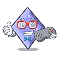 gamer rhombus mascot cartoon style vector image