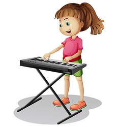 Girl playing with electronic piano vector image