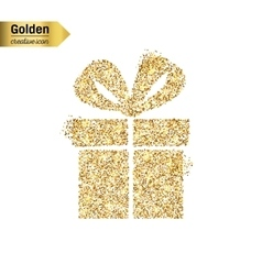 Gold glitter icon of gift box isolated on vector