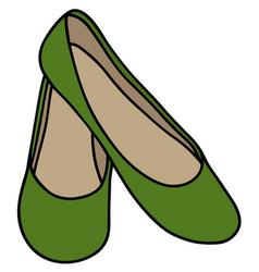 green womens ballerinas vector image
