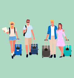 group friends tourists with luggage vector image