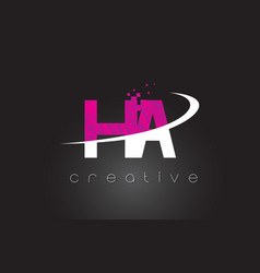 ha h a creative letters design with white pink vector image