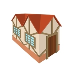 Half timbered house in Germany icon cartoon style vector image
