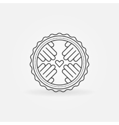 Hand made linear badge vector