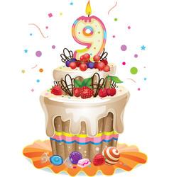 Happy birthday cake 9 vector