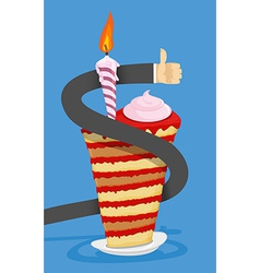 Happy Birthday Cake with candle businessman Hand vector image vector image