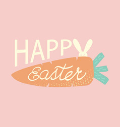 happy easter text with rabbit and carrot happy vector image