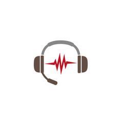 Headphones microphone and heart beats icon vector