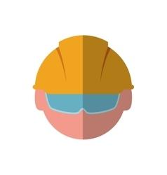 Helmet glasses constructer worker industry icon vector