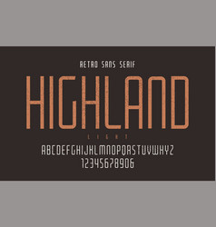 Highland condensed light retro typeface vector