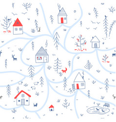 Houses in winter forest seamless pattern with vector