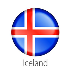 iceland round button flag vector image