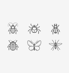 Insects icon set in linear style animals vector