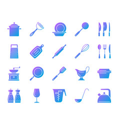 kitchenware simple gradient icons set vector image