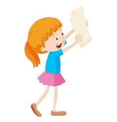 Little girl holding white paper vector image