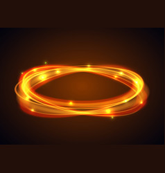 Magic gold circle glowing fire ring trace vector