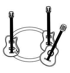 monochrome contour with guitars set electric and vector image