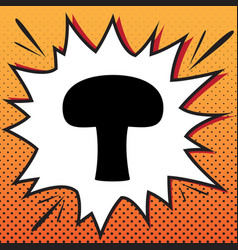 Mushroom simple sign comics style icon on vector