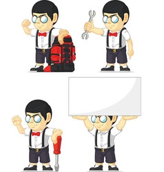 Nerd Boy Customizable Mascot 6 vector image