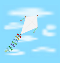 paper kite flying on blue sky vector image