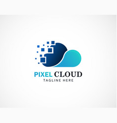 Pixel cloud logo digital logo cloud creative vector