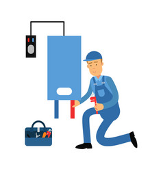 Proffesional plumber man character installing a vector
