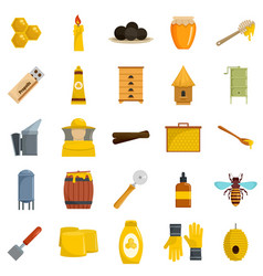 Propolis honey royal jelly icons set flat style vector