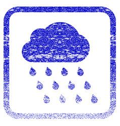 Rain cloud framed textured icon vector