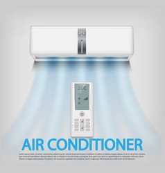 Realistic air conditioner with remote control vector