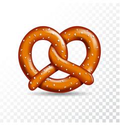 Realistic tasty pretzel on white transparent vector