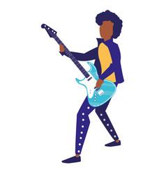 rocker man playing guitar electric character vector image