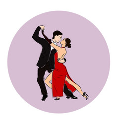 salsa or argentine tango dancing couple man and vector image