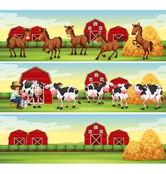 Scenes in the farm with farmer and animals vector image