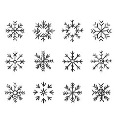 set hand drawn snowflakes new year and winter vector image