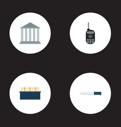Set of criminal icons flat style symbols with vector