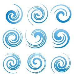 Set of water swirls and abstract waves vector