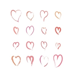 set pink hand drawn hearts on white vector image