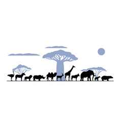 set silhouette african animals vector image